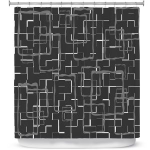Premium Shower Curtains | Susie Kunzelman - Geometrics Drizzle | Lines square rectangles pattern