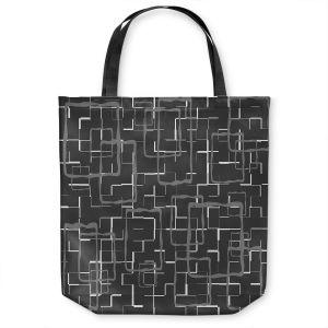 Unique Shoulder Bag Tote Bags | Susie Kunzelman - Geometrics Drizzle | Lines square rectangles pattern