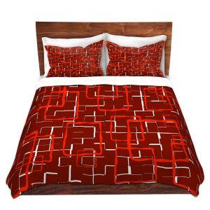 Artistic Duvet Covers and Shams Bedding | Susie Kunzelman - Geometrics Hottie | Lines square rectangles pattern