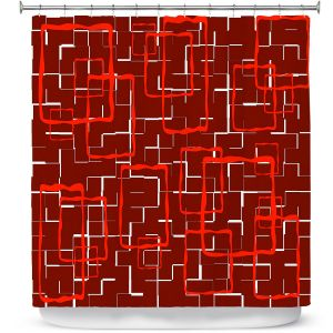 Premium Shower Curtains   Susie Kunzelman - Geometrics Hottie   Lines square rectangles pattern