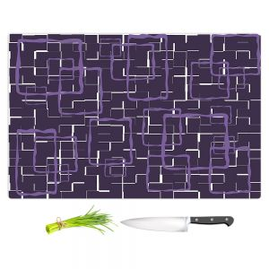 Artistic Kitchen Bar Cutting Boards | Susie Kunzelman - Geometrics Plum | Lines square rectangles pattern
