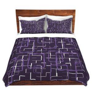 Artistic Duvet Covers and Shams Bedding | Susie Kunzelman - Geometrics Plum | Lines square rectangles pattern