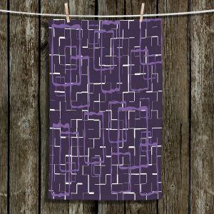 Unique Hanging Tea Towels | Susie Kunzelman - Geometrics Plum | Lines square rectangles pattern