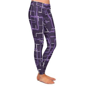 Casual Comfortable Leggings | Susie Kunzelman - Geometrics Plum | Lines square rectangles pattern