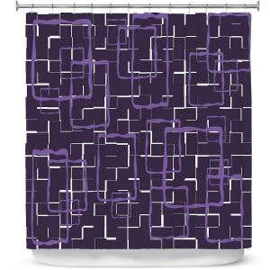 Premium Shower Curtains | Susie Kunzelman - Geometrics Plum | Lines square rectangles pattern
