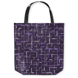 Unique Shoulder Bag Tote Bags | Susie Kunzelman - Geometrics Plum | Lines square rectangles pattern
