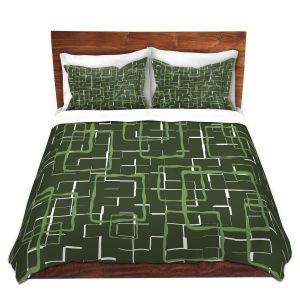Artistic Duvet Covers and Shams Bedding | Susie Kunzelman - Geometrics Treetop | Lines square rectangles pattern