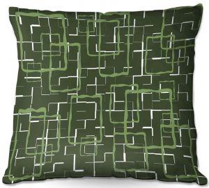 Decorative Outdoor Patio Pillow Cushion   Susie Kunzelman - Geometrics Treetop   Lines square rectangles pattern