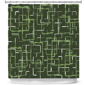 Premium Shower Curtains | Susie Kunzelman - Geometrics Treetop | Lines square rectangles pattern