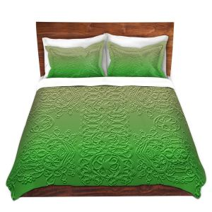Artistic Duvet Covers and Shams Bedding | Susie Kunzelman - Grandma's Lace Online Lime | Pattern ombre