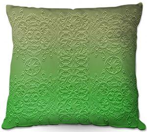 Decorative Outdoor Patio Pillow Cushion | Susie Kunzelman - Grandma's Lace Online Lime | Pattern ombre