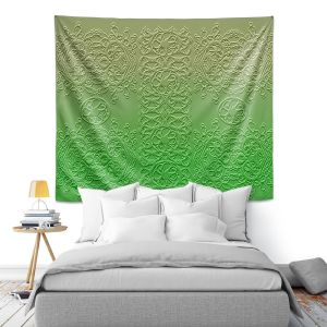 Artistic Wall Tapestry | Susie Kunzelman - Grandma's Lace Online Lime | Pattern ombre