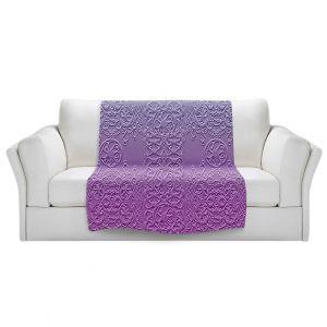 Artistic Sherpa Pile Blankets   Susie Kunzelman - Grandma's Lace Smokey Grape   Pattern ombre