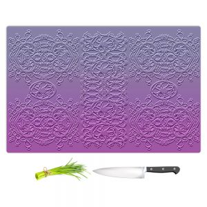 Artistic Kitchen Bar Cutting Boards | Susie Kunzelman - Grandma's Lace Smokey Grape | Pattern ombre