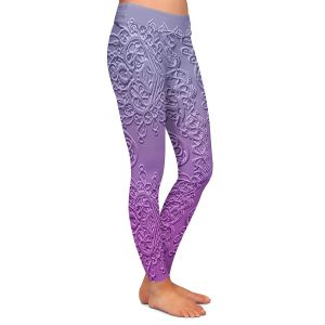 Casual Comfortable Leggings | Susie Kunzelman - Grandma's Lace Smokey Grape | Pattern ombre