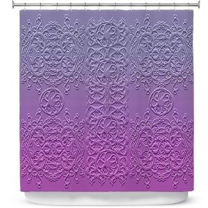 Premium Shower Curtains | Susie Kunzelman - Grandma's Lace Smokey Grape | Pattern ombre