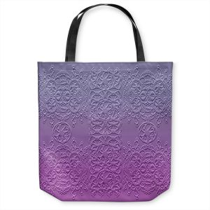 Unique Shoulder Bag Tote Bags | Susie Kunzelman - Grandma's Lace Smokey Grape | Pattern ombre