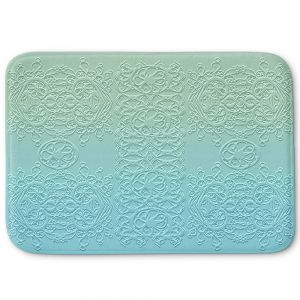 Decorative Bathroom Mats | Susie Kunzelman - Grandma's Lace Spa Blue | Pattern ombre