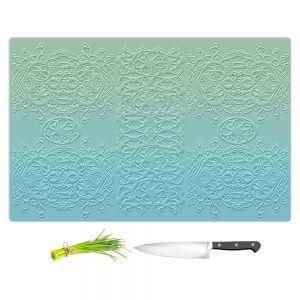 Artistic Kitchen Bar Cutting Boards | Susie Kunzelman - Grandma's Lace Spa Blue | Pattern ombre