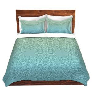 Artistic Duvet Covers and Shams Bedding | Susie Kunzelman - Grandma's Lace Spa Blue | Pattern ombre