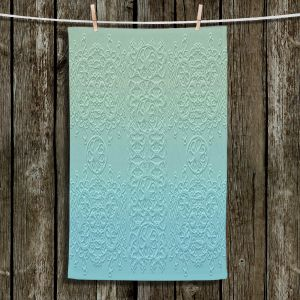 Unique Hanging Tea Towels | Susie Kunzelman - Grandma's Lace Spa Blue | Pattern ombre