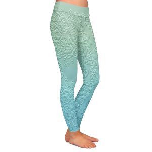 Casual Comfortable Leggings | Susie Kunzelman - Grandma's Lace Spa Blue | Pattern ombre