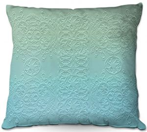 Throw Pillows Decorative Artistic | Susie Kunzelman - Grandma's Lace Spa Blue | Pattern ombre