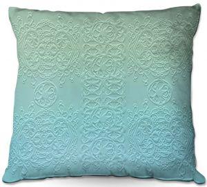 Decorative Outdoor Patio Pillow Cushion | Susie Kunzelman - Grandma's Lace Spa Blue | Pattern ombre