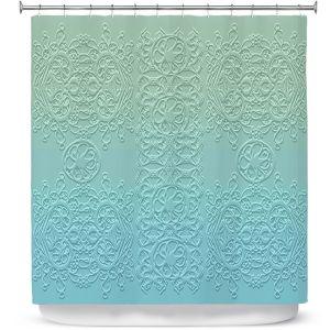 Premium Shower Curtains | Susie Kunzelman - Grandma's Lace Spa Blue | Pattern ombre