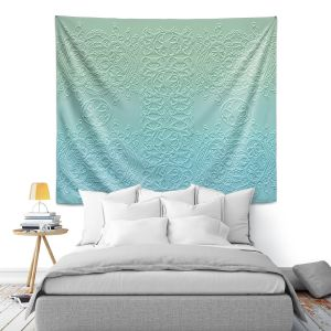Artistic Wall Tapestry | Susie Kunzelman - Grandma's Lace Spa Blue | Pattern ombre