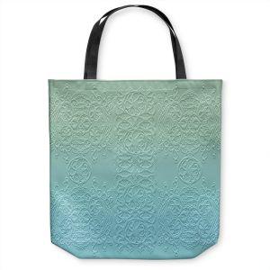 Unique Shoulder Bag Tote Bags | Susie Kunzelman - Grandma's Lace Spa Blue | Pattern ombre