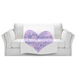Artistic Sherpa Pile Blankets | Susie Kunzelman - Heart Love White Serenity