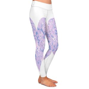 Casual Comfortable Leggings | Susie Kunzelman - Heart Love White Serenity