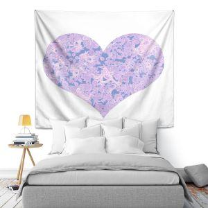 Artistic Wall Tapestry   Susie Kunzelman - Heart Love White Serenity