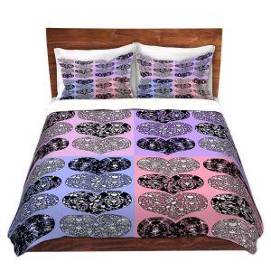 Artistic Duvet Covers and Shams Bedding | Susie Kunzelman - Hearts in Lavenders | love pattern pop art