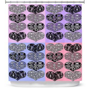 Premium Shower Curtains | Susie Kunzelman - Hearts in Lavenders | love pattern pop art