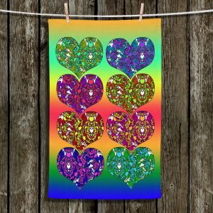 Unique Bathroom Towels | Susie Kunzelman - Hearts in Tie Dye 2 | rainbow pattern love