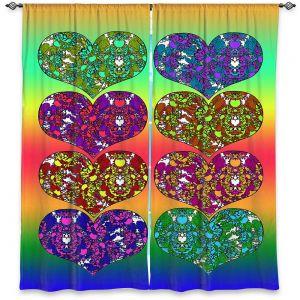 Decorative Window Treatments   Susie Kunzelman - Hearts in Tie Dye 2   rainbow pattern love