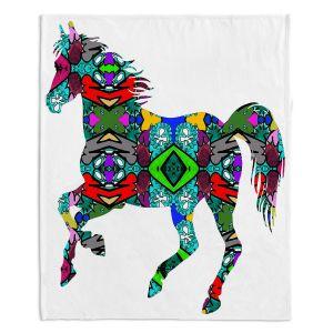 Decorative Fleece Throw Blankets | Susie Kunzelman - Horse Rainbow 1 | silhouette nature animal