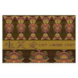 Decorative Floor Covering Mats | Susie Kunzelman - Japanese Live Laugh Love | language text pattern