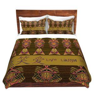 Artistic Duvet Covers and Shams Bedding | Susie Kunzelman - Japanese Live Laugh Love | language text pattern