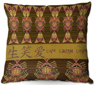 Throw Pillows Decorative Artistic   Susie Kunzelman - Japanese Live Laugh Love   language text pattern