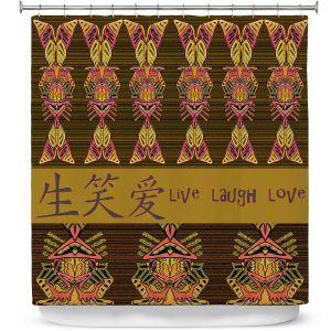 Premium Shower Curtains | Susie Kunzelman - Japanese Live Laugh Love | language text pattern