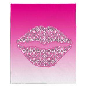 Decorative Fleece Throw Blankets | Susie Kunzelman - Lips Hot Pink