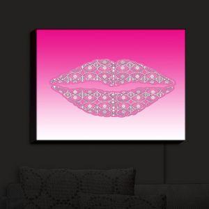 Nightlight Sconce Canvas Light | Susie Kunzelman - Lips Hot Pink | Pattern Shapes Kisses