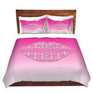 Artistic Duvet Covers and Shams Bedding | Susie Kunzelman - Lips Hot Pink