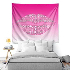 Artistic Wall Tapestry | Susie Kunzelman - Lips Hot Pink