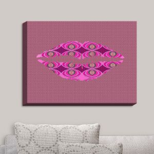 Decorative Canvas Wall Art | Susie Kunzelman - Lips Pink | Pattern Shapes Kisses