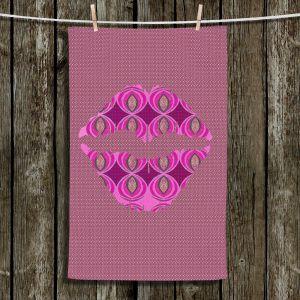 Unique Hanging Tea Towels | Susie Kunzelman - Lips Pink | Pattern Shapes Kisses