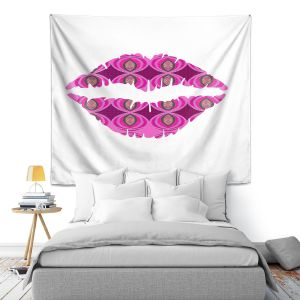 Artistic Wall Tapestry | Susie Kunzelman - Lips Pink White